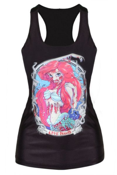 Gothic Zombie Mermaid Print Vest wholesale by Liverpool Private Reserve, the best selection of women's wardrobe, it will never out of style for its all-match style, sexy slim fit silhouette with 3D zombie mermaid print, cool Gothic style you'll like. #WomensFashion