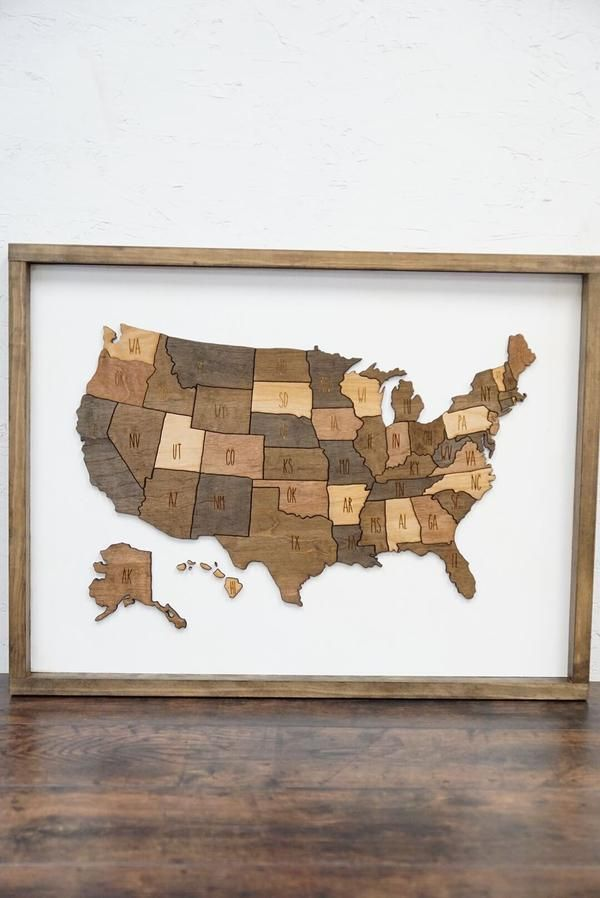 Map of the United States Neutral Wood