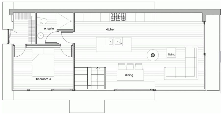 Second level floor plan - Loughloughan Barn by McGarry-Moon Architects