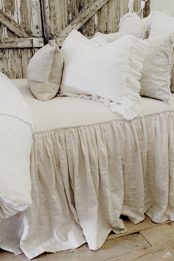 vintage ruffle coverlet from full bloom cottage master bedroom in rh pinterest com