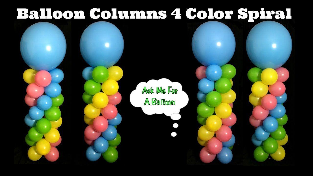 Balloon Columns 4 Color Spiral Balloon Decoration Tutorial
