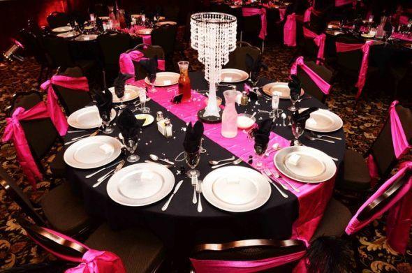 PINK BLACK SILVER MASQUERADE BALL RECEPTION Wedding Beads Black Feathers Bouquet Centerpiece