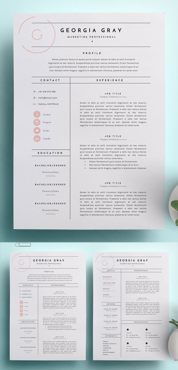 Resume Template 3 Page Cv Template Graphic Design Resume Graphic Resume Resume Design Creative