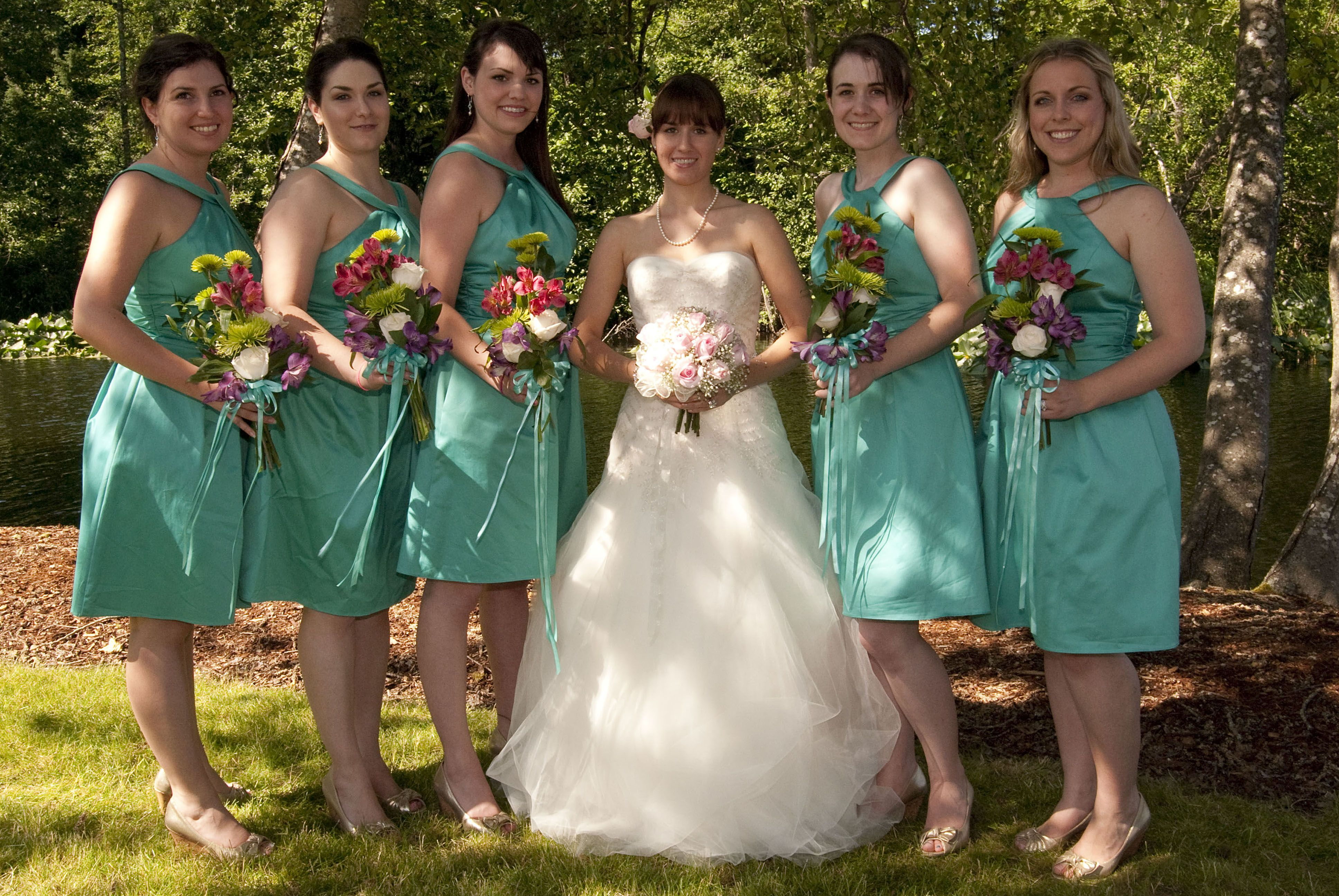 fall bridal party pictures%0A teal wedding the flowers have nice coordinating colors that have more of  a