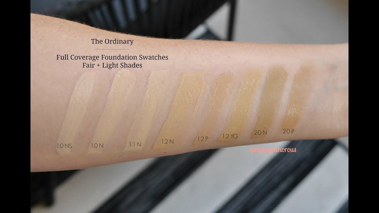 The Ordinary 7 Full Coverage Foundation Swatches Lightest Shades Gi Foundation Swatches The Ordinary Coverage Foundation Coverage Foundation