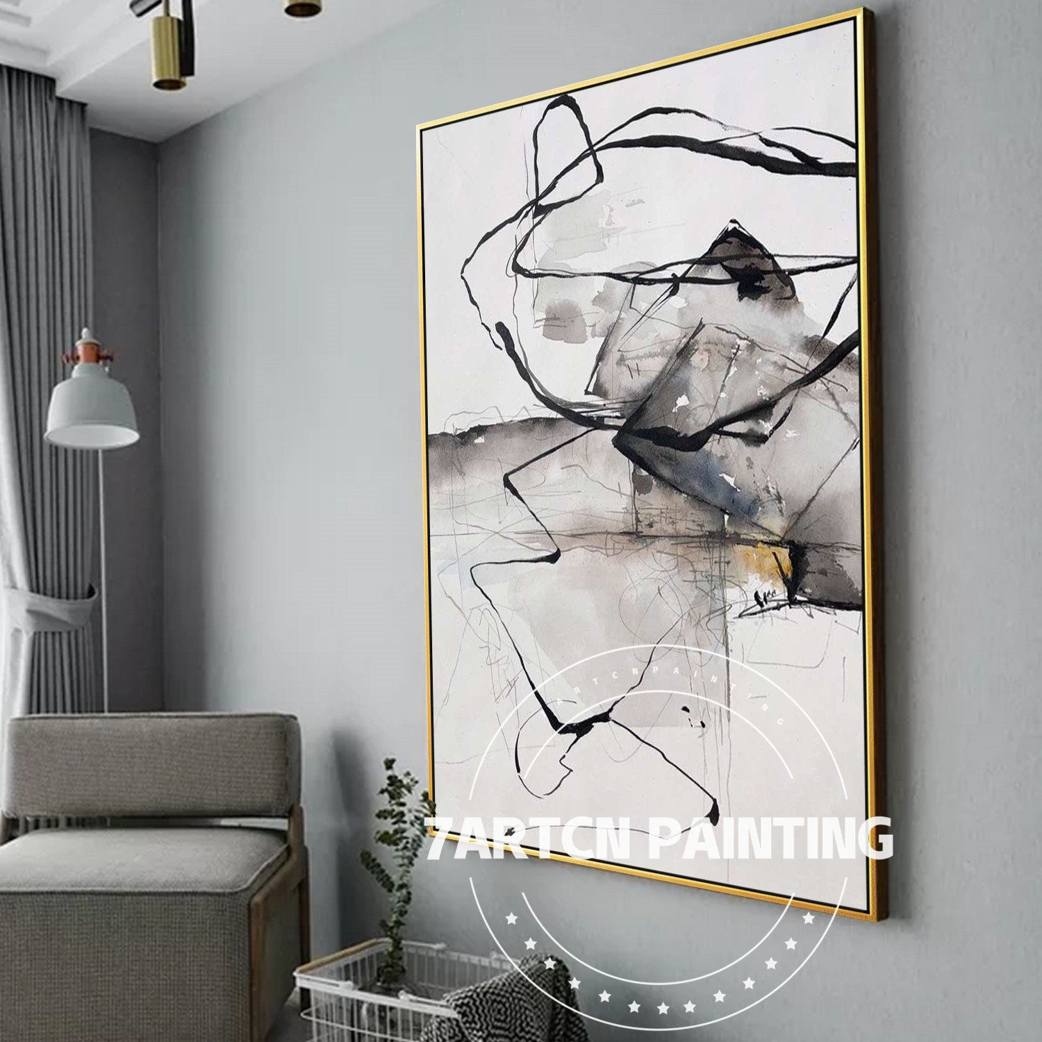 Canvas Acrylic Painting Modern Abstract Black White Framed Etsy In 2020 Linear Art White Art Painting White Frames Wall