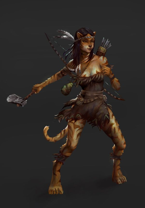 Image result for female catfolk druid