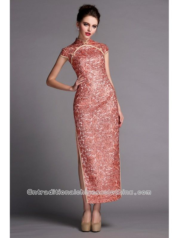 Sequins floral long qipao cap sleeve party cheongsam traditional ...