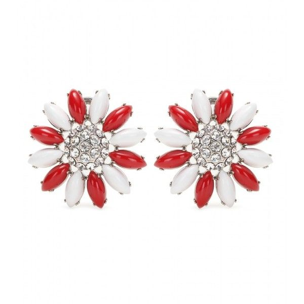 Miu Miu Clip-on Earrings With Swarovski Crystals ($435) ❤ liked on Polyvore featuring jewelry, earrings, red, red clip on earrings, swarovski crystals earrings, miu miu, clip on earrings and red clip earrings