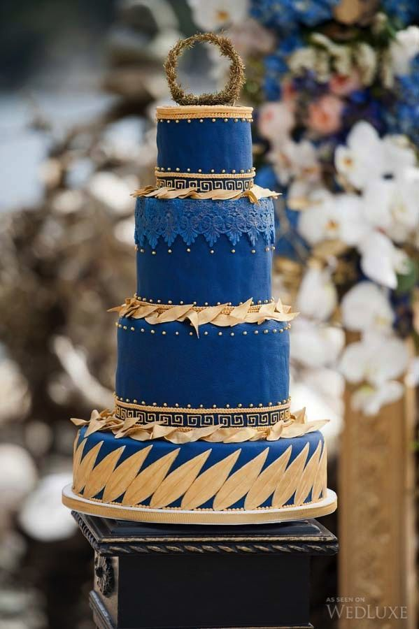 beach themed wedding cakes pinterest%0A Blue and gold cake inspiration  Find this Pin and more on Italian Wedding  Ideas