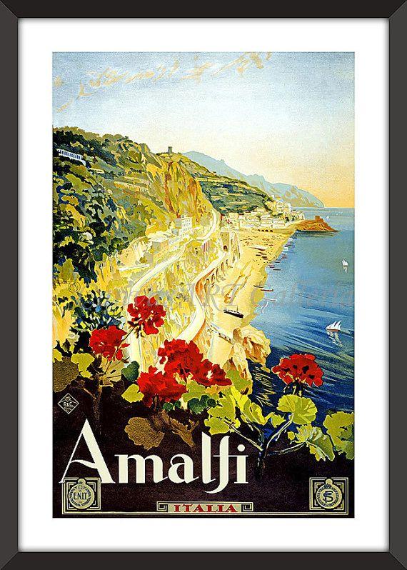 Vintage AMALFI ITALIA Wall Art Decor ITALY Travel Poster Reprint Not ...