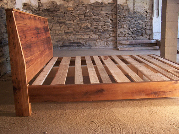 Modern Style Bed Frame With Slanted Headboard From Reclaimed Wood - Modern Style Bed Frame With Slanted Headboard From Reclaimed Wood