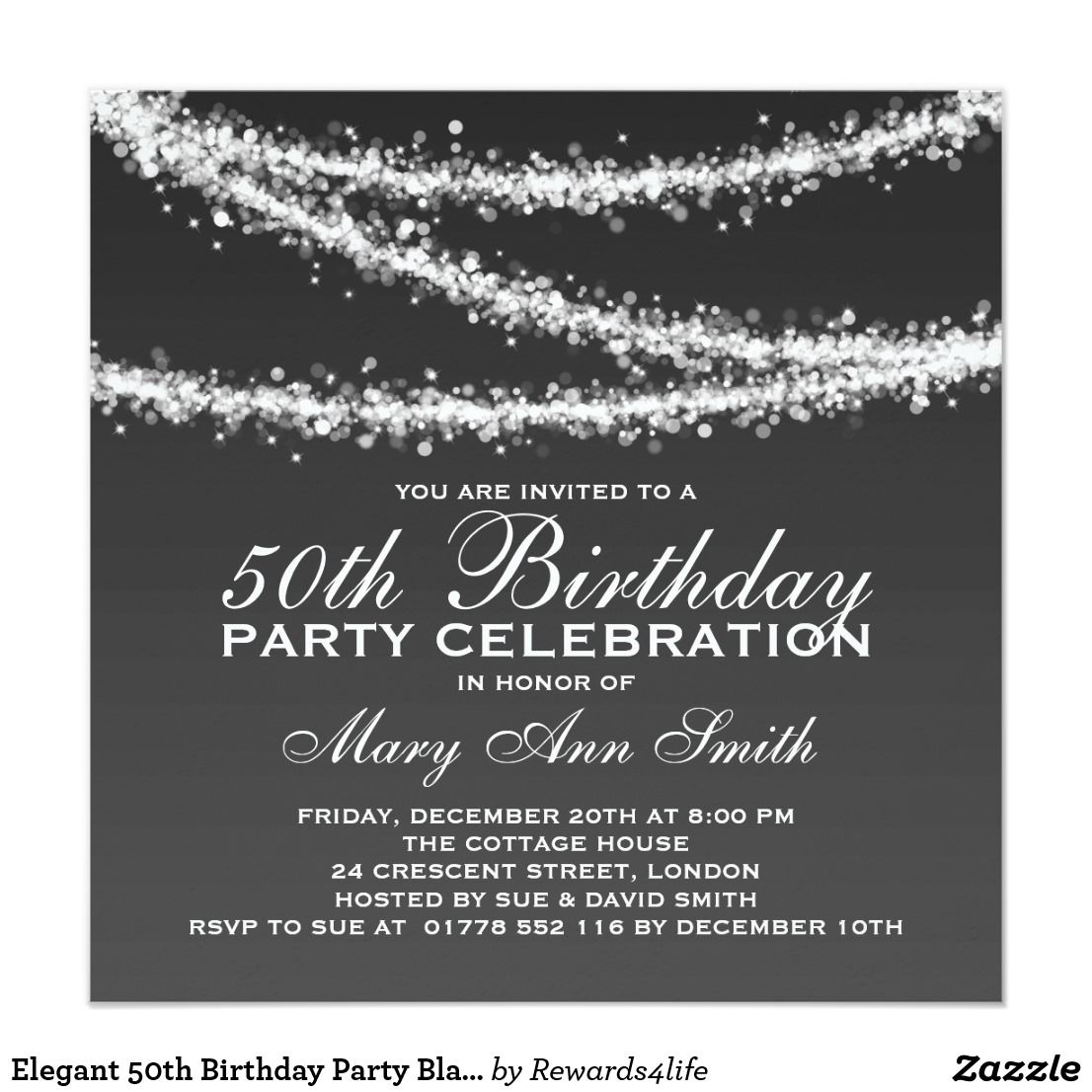 Elegant 50th Birthday Party Black String Lights Card | 50th birthday ...