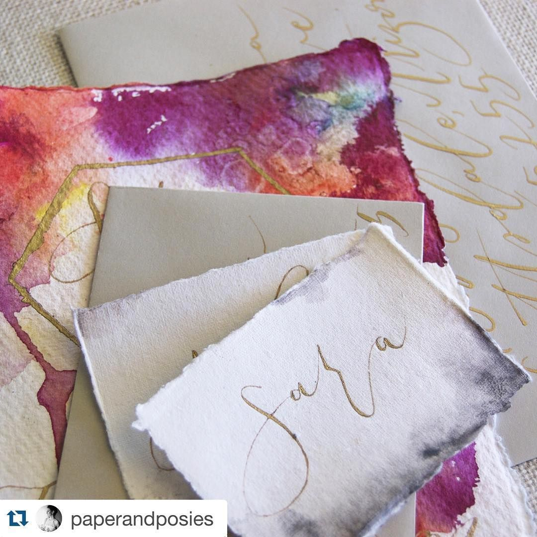 Watercolor wash place cards and gift tags