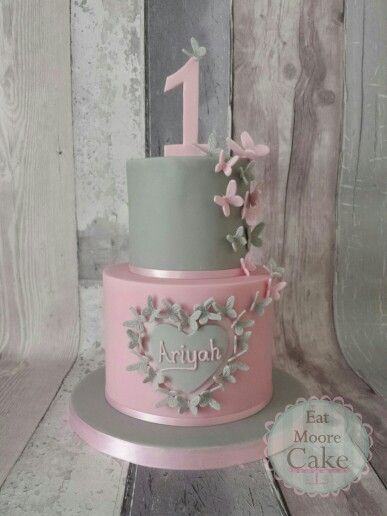 Pink And Grey Butterflies 1st Birthday Cake 1st Birthday Cakes