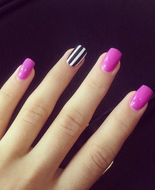 One Black And White Strip Pink Nail Design For Prom