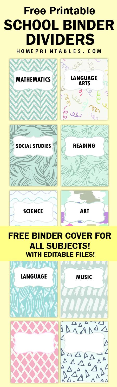 Free Printable School Binder Divide For All Subjects School Binder School Supplies Diy Notebook Diy School Supplies Organization