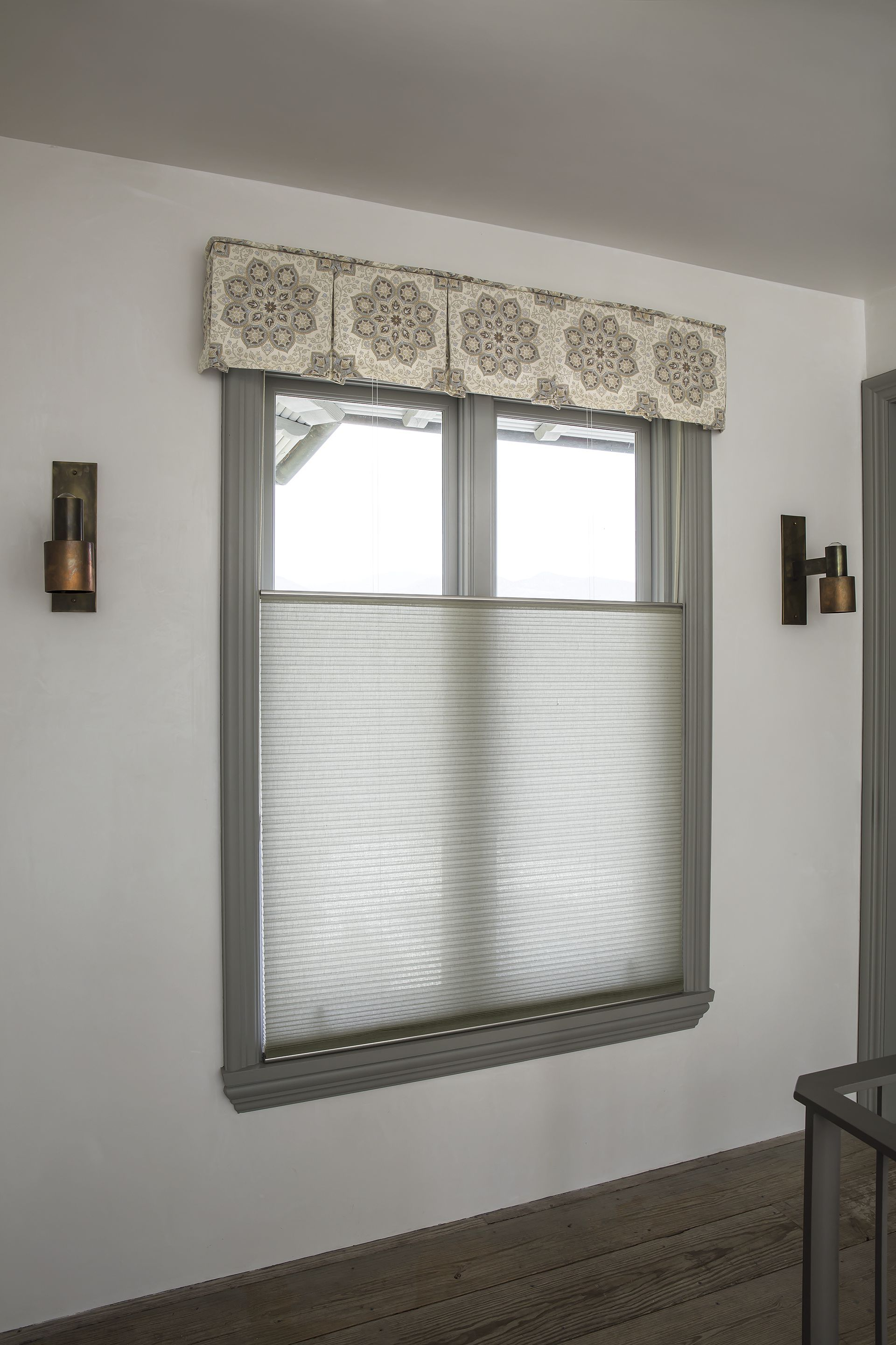 living room window valance ideas%0A Tailored Cornice in Talia  Stone       Luxe Linen Petite Cell Honeycomb  Shades in Titanium
