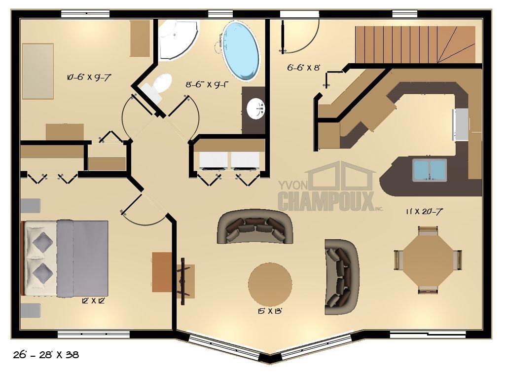 Modèle Kipawa -1 Maisons Champoux- Maison deux étages Plan de