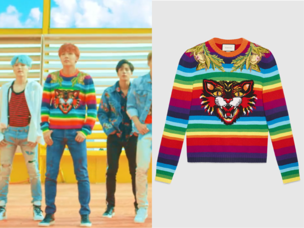 27b199204 BTS J-Hope (제이홉) wore striped sweater in BTS 'DNA' Music Video It is the  GUCCI Striped wool intarsia sweater with appliqués. Get them HERE for  $2,500 ...