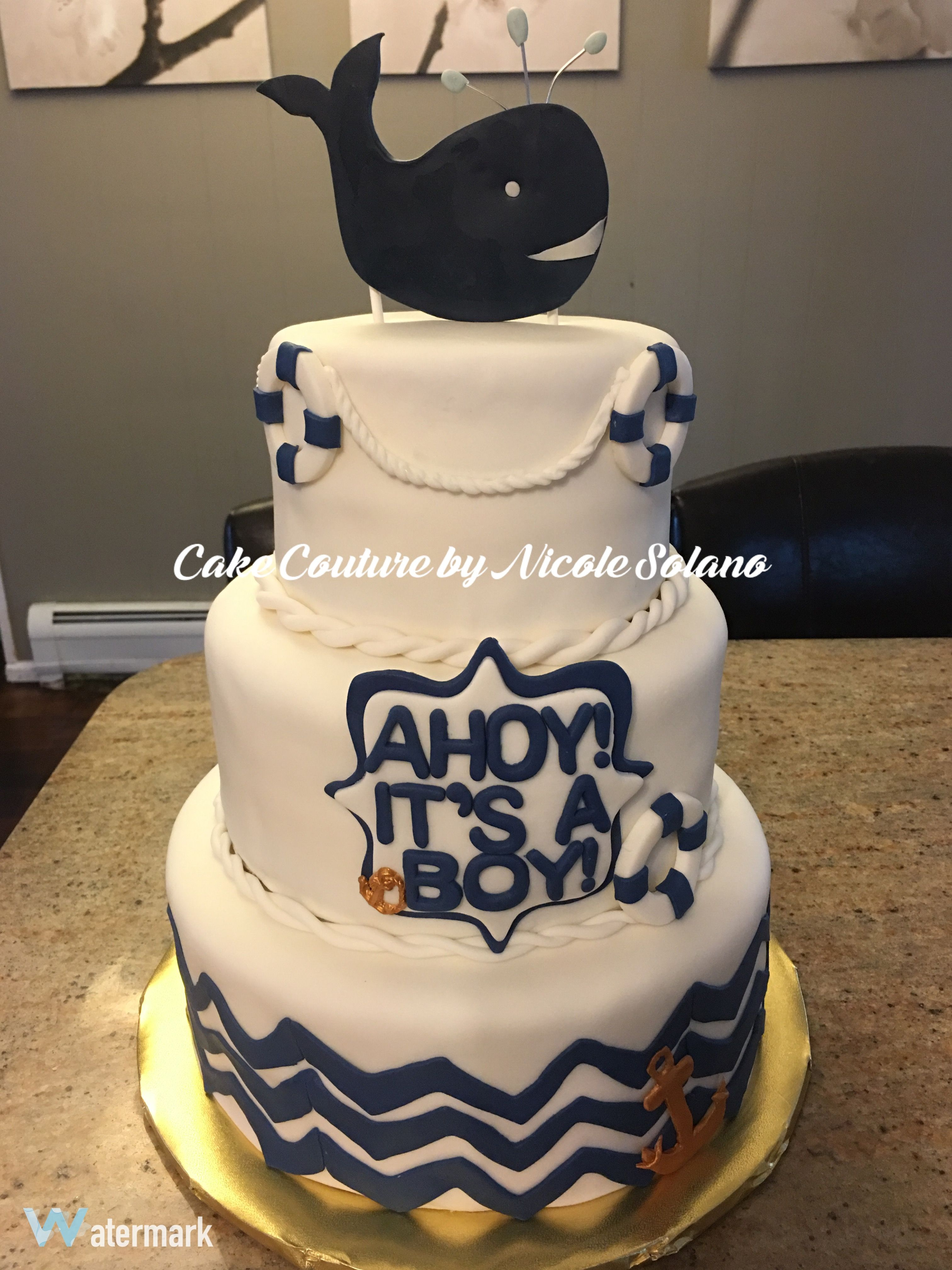 Whale baby shower cake nautical baby shower cake ahoy It s a