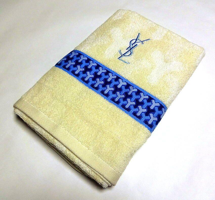 Yves Saint Laurent Ysl Bath Towel Cotton Ivory Auth New