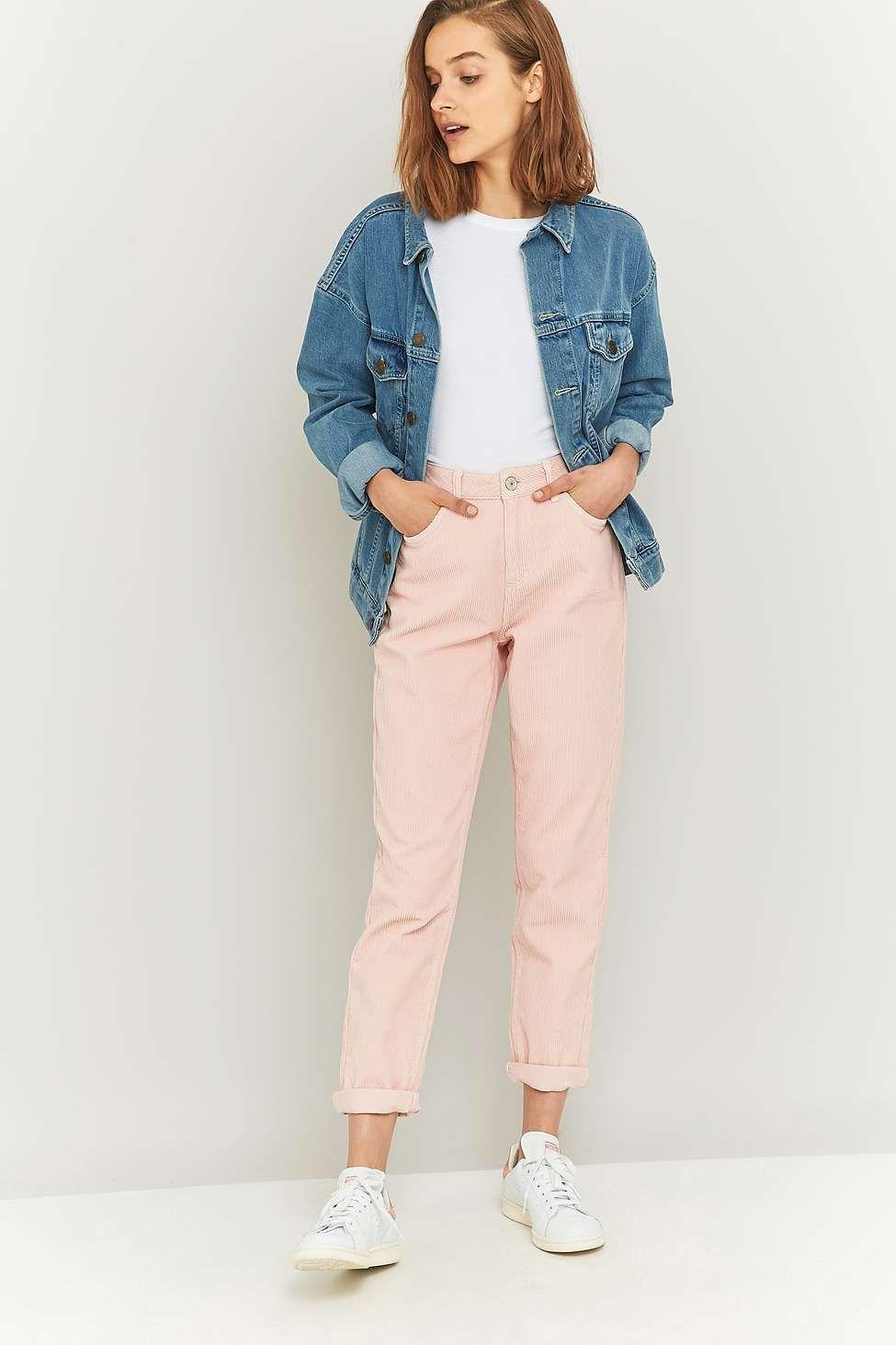 BDG - Jean Mom en velours côtelé rose