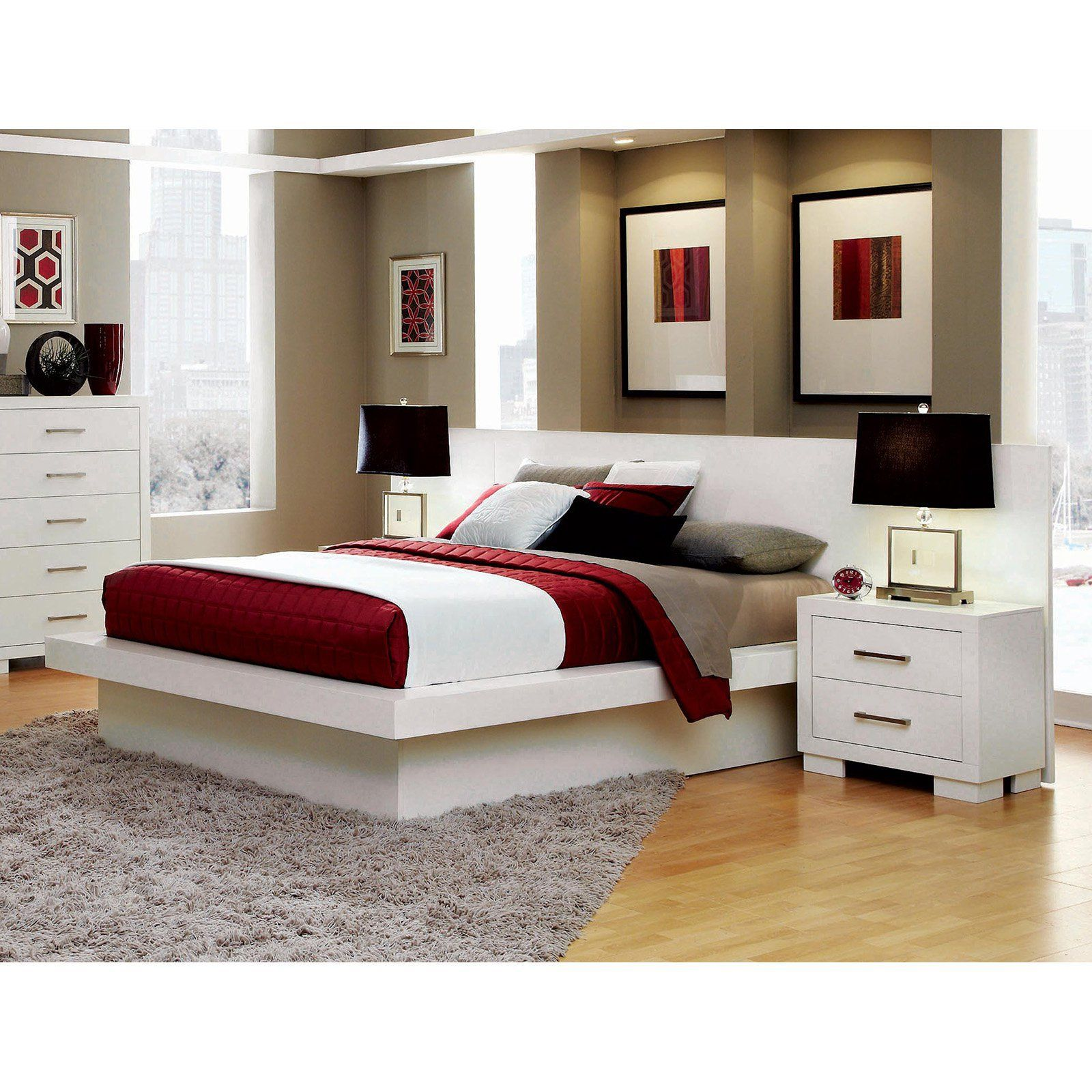 Coaster Furniture Jessica Platform Bed and Nightstand