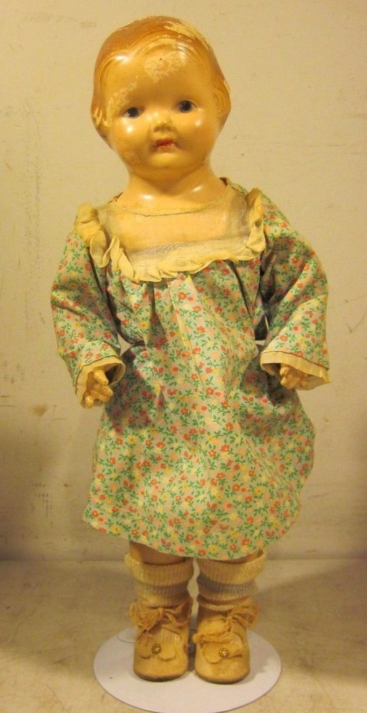 "Antique Effanbee F&B 15"" Baby Dainty Doll Composition 1920's USA"