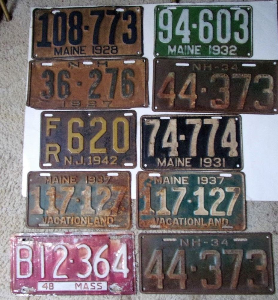 19201948 Mixed Automobile License Plate Lot NH MA ME NJ