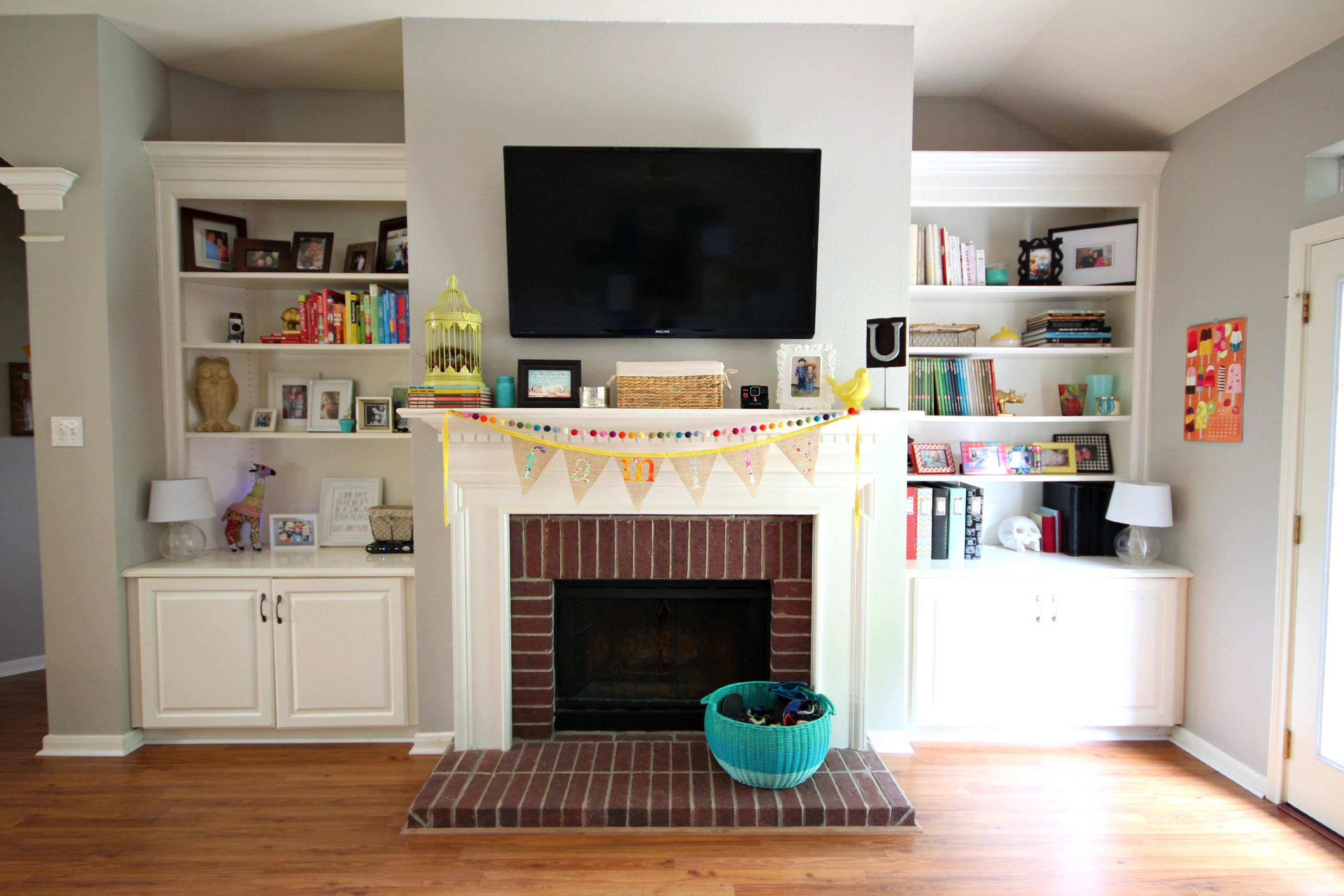 living room wall cabinets built%0A built in cabinets around brick fireplace  Google Search