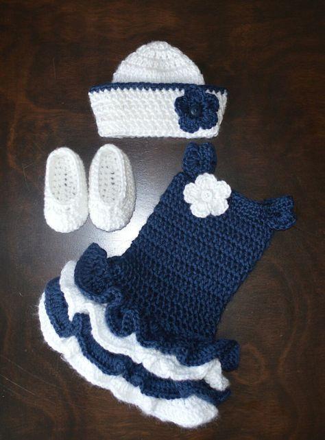 Häkeln Matrose Hut & passende Tutu-Kleid mit von CubbyCreations ...