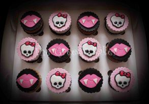 Monster High Cupcakes including Fondant discs with gumpaste and royal icing detail.