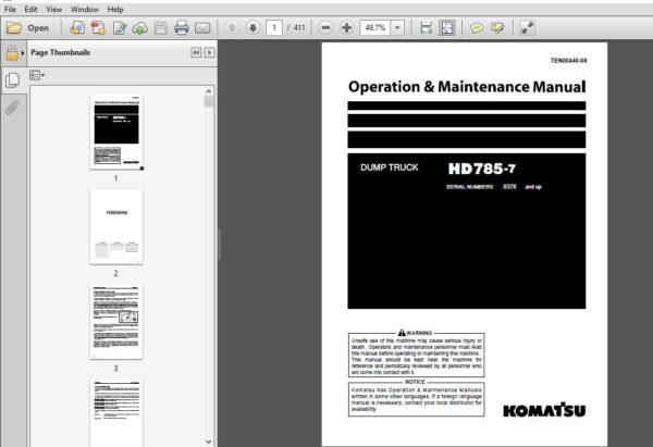 Komatsu Hd785 7 Dump Truck Operation Maintenance Manual Sn 8378 Up Komatsu Hd785 7 Pdf In 2020 Operation And Maintenance Komatsu Dump Truck