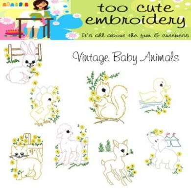 Vintage Baby Animals By Too Cute Embroidery Bordados E Aplicacoes