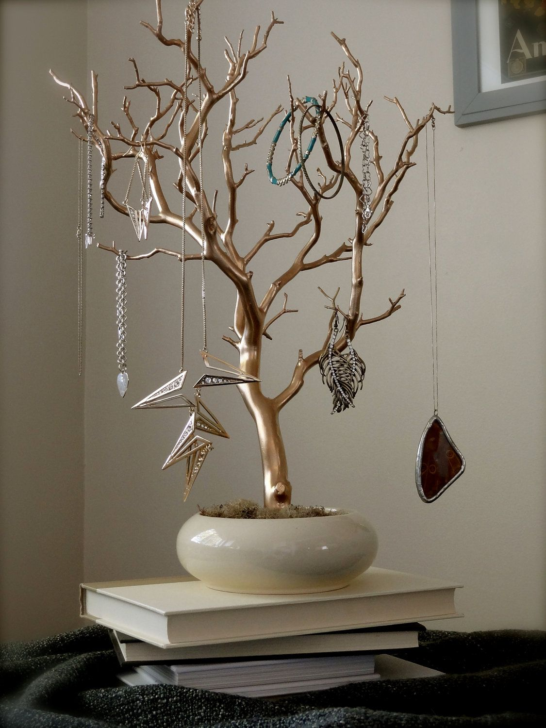 Tree Branch Jewelry Holder : branch, jewelry, holder, Jewelry, Holder, Organizer, Cream, Painted, Tree,