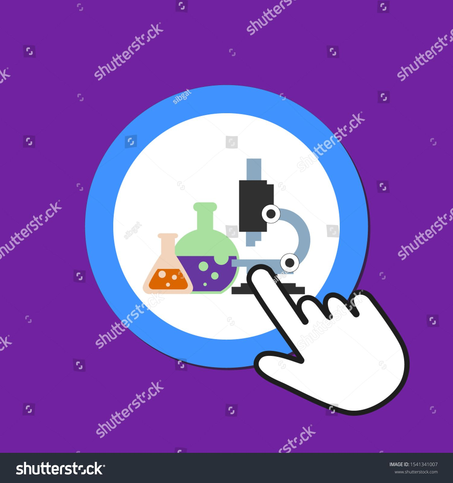 Microscope, chemistry icon. Lab, science concept. Hand