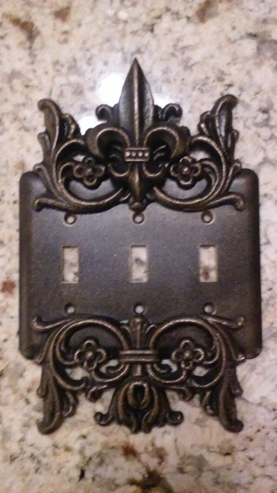 Metal Triple Light Switch Plate Free Usa Shipping Old World Fleur De Lis Cover Lightswitch Custom Tuscan