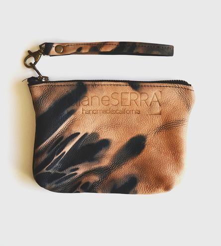 Estrella Pequena Peach & Black Leather Clutch by Diane Serra Handmade on Scoutmob Shoppe