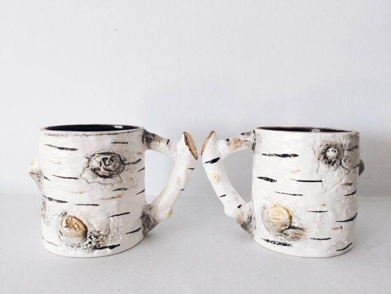 vintage ceramic birch bark coffee mug set 2 by