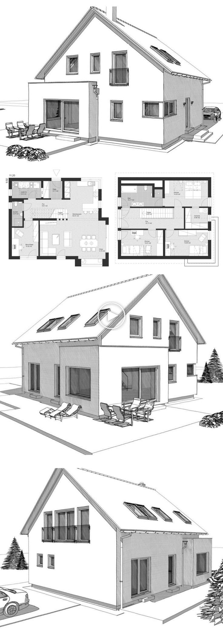 Modern detached house floor plan classic with pitched roof & bay window extension – Arch …