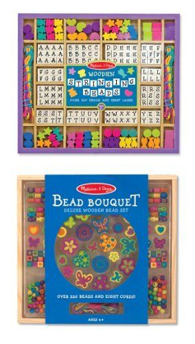 3 Item Bundle Melissa Doug 3774 Wooden Stringing Beads And 4169