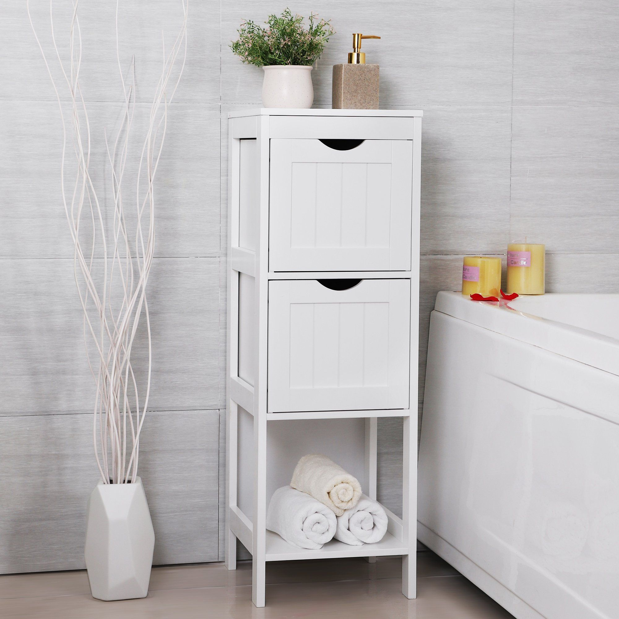 songmics bathroom floor cabinet multifunctional bathroom storage rh pinterest com