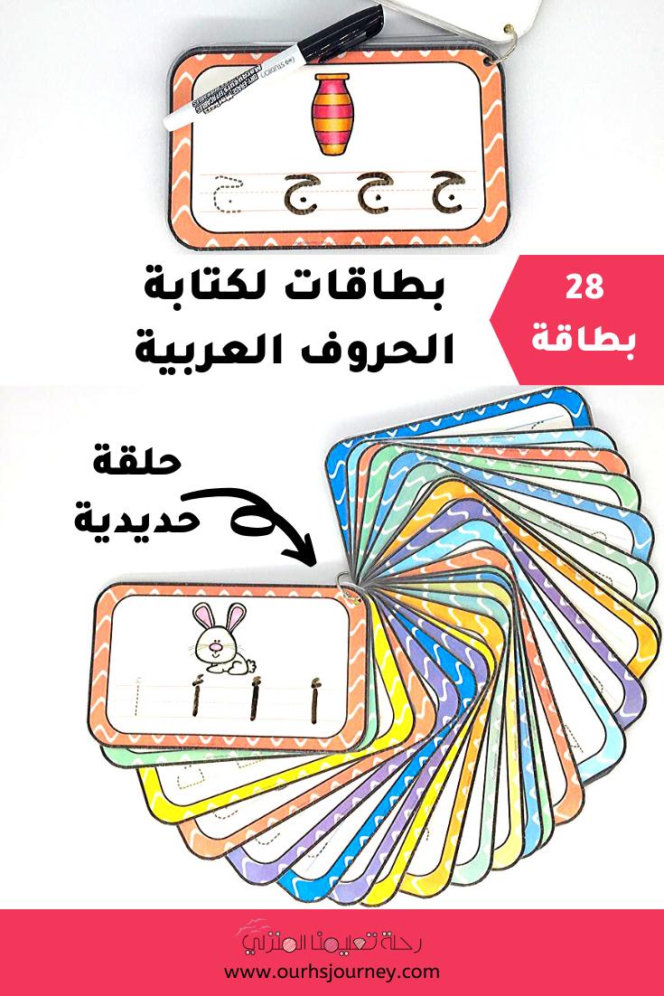 بطاقات لكتابة الحروف العربية 28 بطاقة Free Educational Printables Educational Printables Homeschool Resources