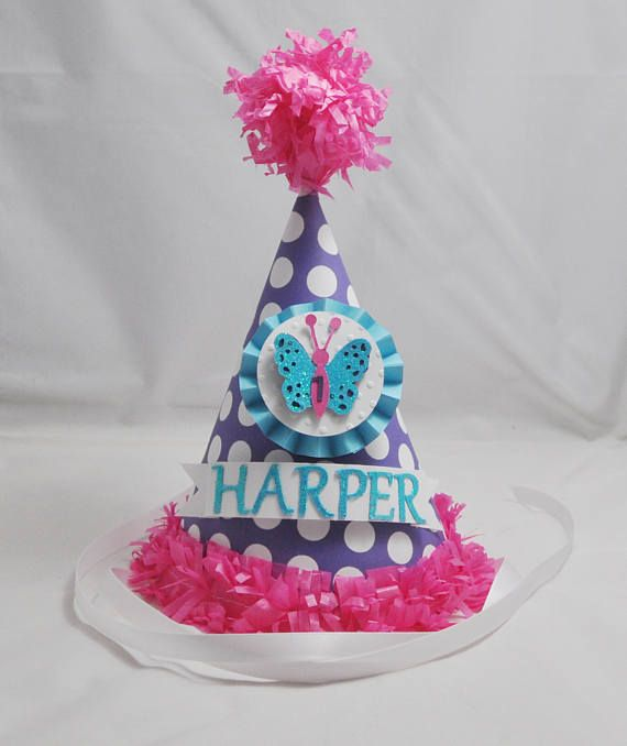 Butterfly 1st Birthday Party Hat Personalized Pink Purple