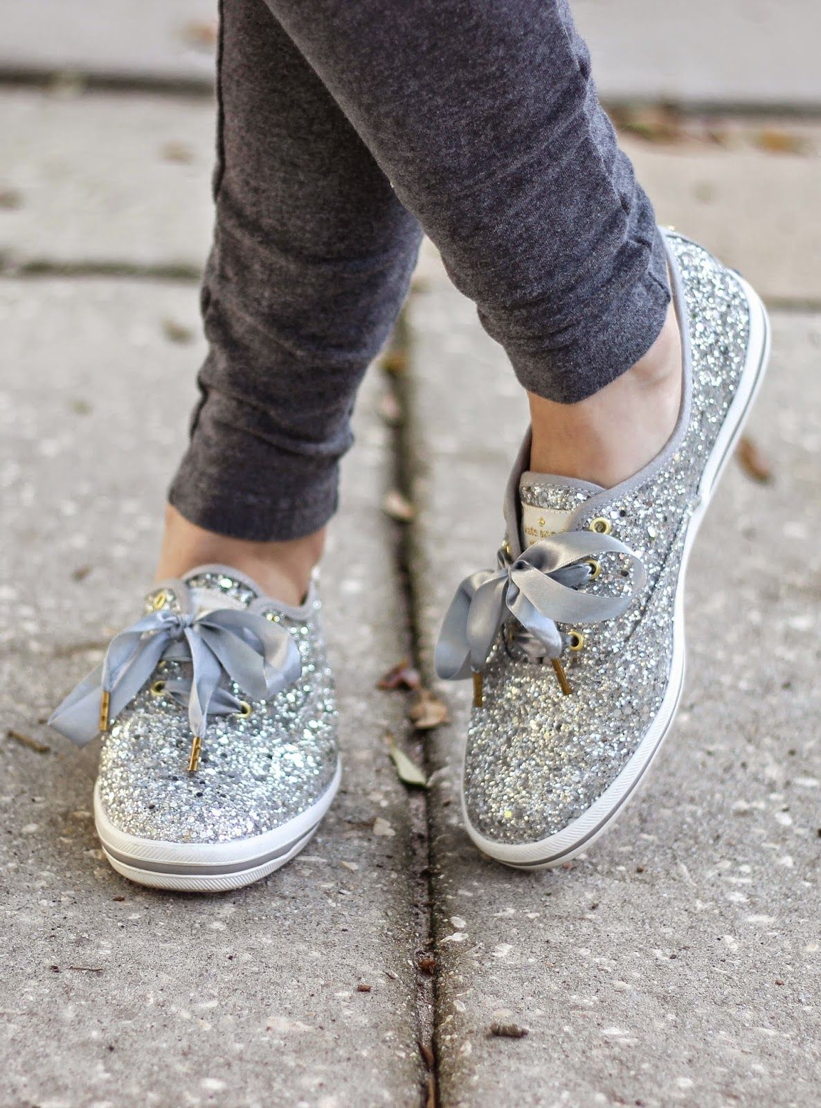 Kelly Elizabeth Style: Skinny Sweats and Glitter Shoes - skinny sweatpants:  Target; silver