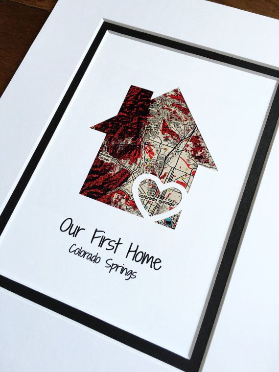 Our First Home Personalized Home Map Matted Gift First Home Pop