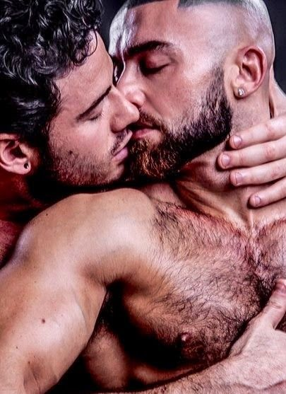 Passionate guys hot kissing