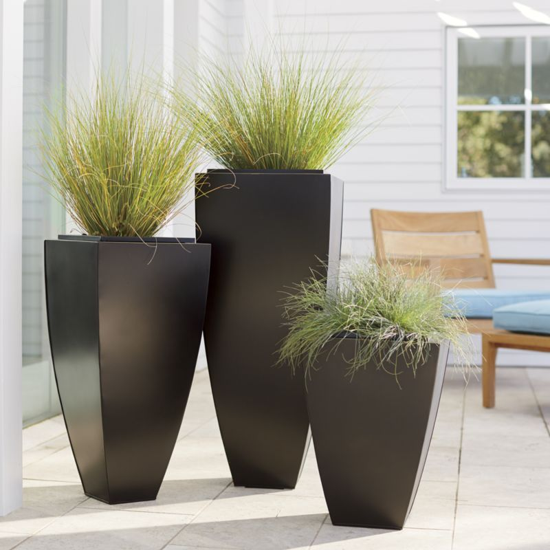 bronze tall tapered planters crate and barrel outdoors rh pinterest com