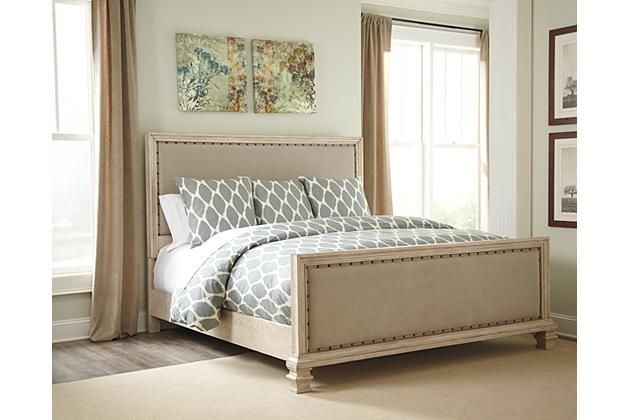 ashley furniture parchment white demarlos queen upholstered bed rh pinterest com